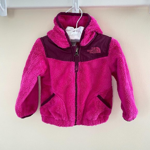 The North Face Girls Pink Fleece Oso Hoodie Jacket